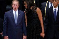 Cenaze Töreninde Neşeli Hareketler Sergileyen Bush Şaşırttı!