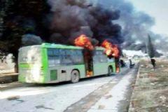Suriye'de Tahliye Otobüsleri Ateşe Verildi